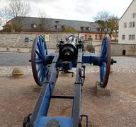 old, blue cannon in st. petersberg citadel barracks - stock photo