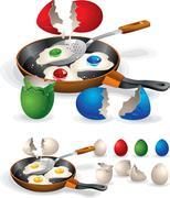 Easter Fried Eggs - stock illustration