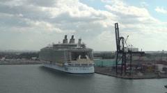 Modern ocean liner in port - stock footage