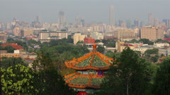 Pagoda at Jingshan Park and Central Business District, Beijing, China Stock Footage