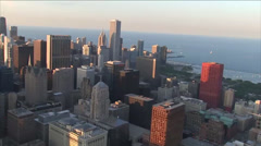 City of Chicago Aerial at Sunrise Stock Footage