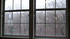 Soft Light Winter | Window view of falling snowflakes - stock footage