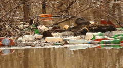 Spring flooding. Rubbish, ecology Stock Footage