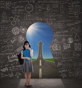 college student with a keyhole to success - stock illustration