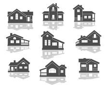 Collection of vector house designs Stock Illustration
