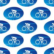 Cycling icon in a blue oval surround Stock Illustration