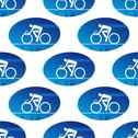 Stock Illustration of cycling icon in a blue oval surround