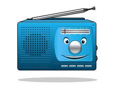 happy retro transistor radio - stock illustration