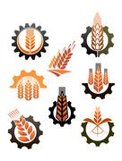 set of icons depicting industry and agriculture - stock illustration