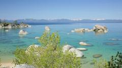Whale Beach, Lake Tahoe (pan) Stock Footage