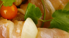 Raw chicken kebabs Stock Footage