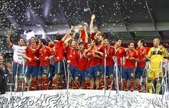 Spain national football team celebrates their winning of the uefa euro 2012 t Stock Photos
