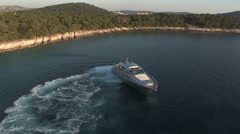 Luxury boat moving close to the coast Stock Footage