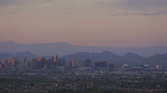 Downtown Phoenix, Arizona dusk panorama Stock Footage
