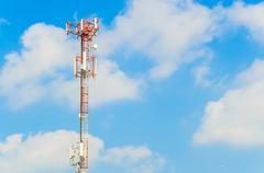 antenna on blue sky - stock photo