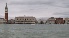 0303 Venice, traffic in front of St Mark's Square, rainy day Stock Footage