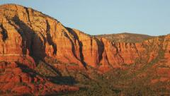 Red rock formations closeup, Sedona, Arizona (pan) - stock footage