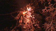 Hydro lines on fire in ice storm and freezing rain  Stock Footage