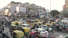 Stock Video Footage of Chandni Chowk, Old Delhi, wide angle