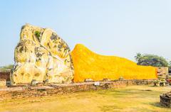 Buddha sleep statue in wat lokayasutharam temple in at ayutthaya thailand Stock Photos