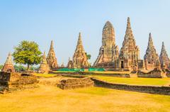 wat chai watthanaram temple in ayutthaya thailand - stock photo