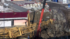 Work on the construction site. installation crane Stock Footage