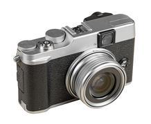 vintage rangefinder style camera isolated on white - stock photo