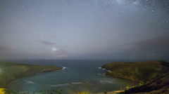Hanauma Bay Milky Way Time Lapse Oahu 4k UHD Stock Footage