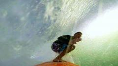 POV Surfer Surfing in slow motion Stock Footage