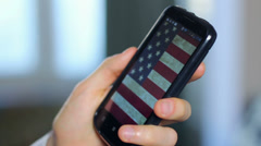 German Chancellor Merkel calling US official, phone close-up, click for HD Stock Footage