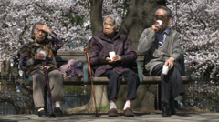 Aging senior people in Japan Stock Footage