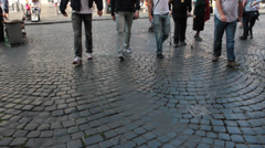 pedestrians walking on the ancient stone roads of rome - stock footage
