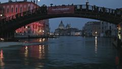 0307 Night view Grand Canal in Venice, Accademia bridge Stock Footage