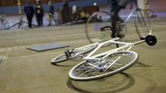 White bicyce on Velodrome Stock Footage