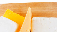 Goat cheeses and yellow Stock Footage