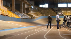 Cyclist on Velodrome Stock Footage