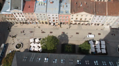 Lviv market square from top - stock footage
