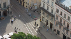 Lviv Tram from tower Stock Footage