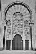 gates of the the hassan ii mosque, located in casablanca is the largest mosqu - stock photo