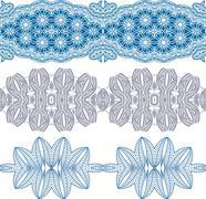 set linear floral ornament - stock illustration