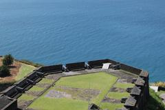 high angle view of fort brimstone hill on the caribbean island of st. kitts - stock photo