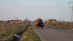 Two horses carriages loaded with logs on a rural road, wood,village, wagon  Stock Footage