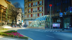 Bilbao metro is a modern design and is designed by Norman Foster - stock footage