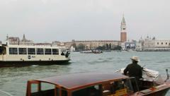 0309 Venice, traffic in front of St Mark's Square, rainy day Stock Footage