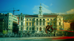Bilbao Town Hall and sculpture Variante Ovoide de la Desocupacion Stock Footage