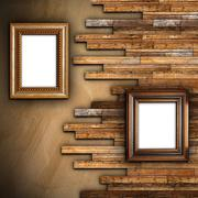 abstract wall with plaster and wood finishing - stock illustration