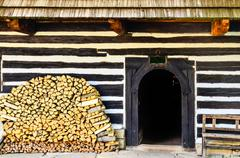 Entrance to traditional old cottage in slovakia Stock Photos