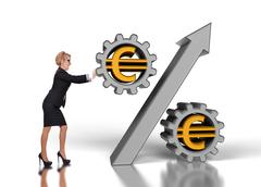 Businesswoman pushing percent Stock Illustration