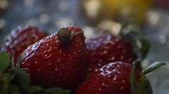Snail on strawberries Stock Footage