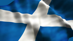 Flag of Scotland tilted back, waving slowly. Stock Footage